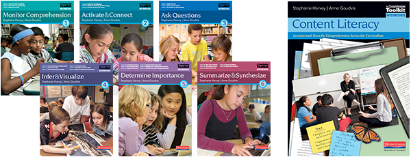 Lesson books organized around foundational comprehension strategies