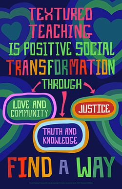 Textured Teaching is positive social transformation through love and community, justice, and truth and knowledge Poster