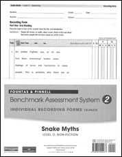 Recording Forms 10 pack Snake Myths (System 2)
