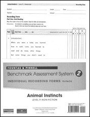 Recording Forms 10pack Animal Instincts (System 2)