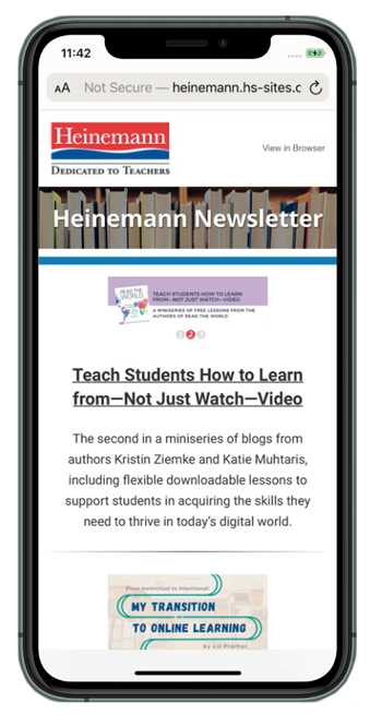 An iphone with the newsletter in a browser.