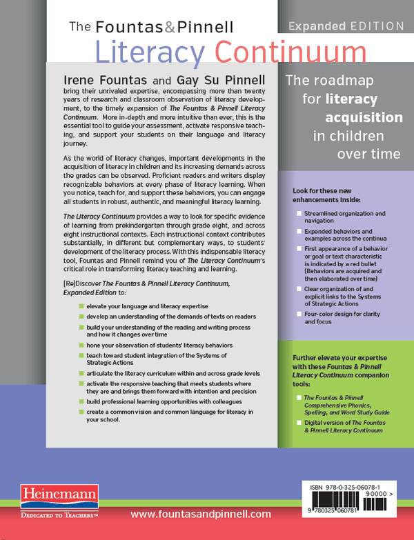 Fountas and pinnell continuum of literacy learning